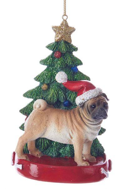 Pug Christmas Tree Ornament Fawn