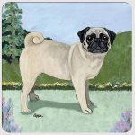 Pug Yard Scene Coasters Set of 4 Fawn