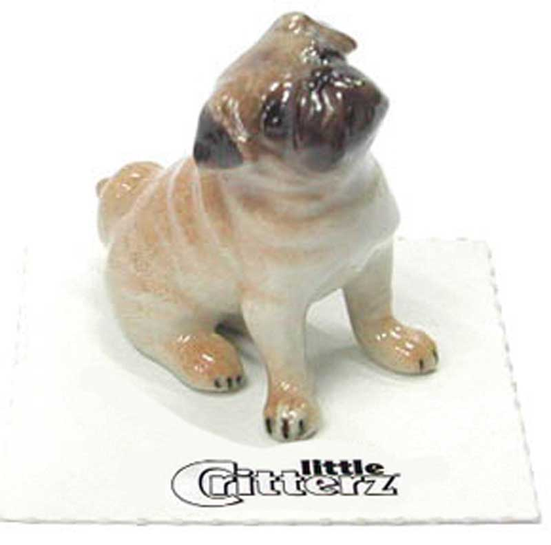 Pug Hand Painted Porcelain Miniature Figurine