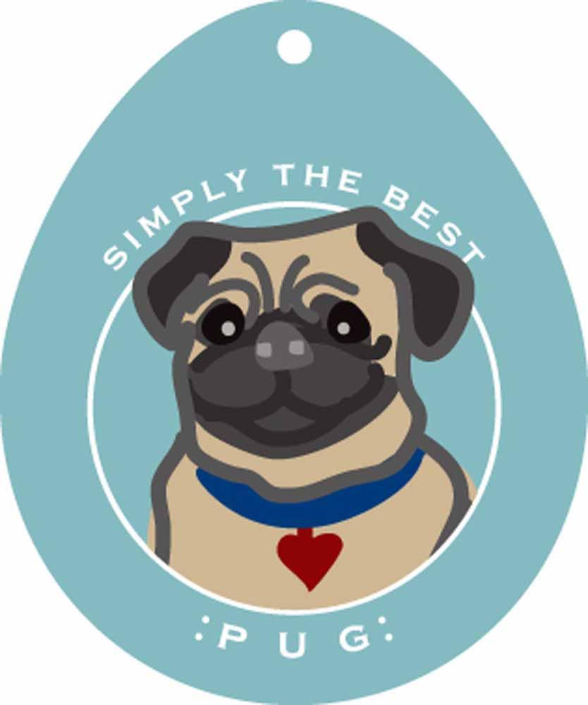 "Pug Sticker 4x4"" Fawn"