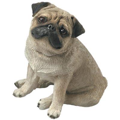Pug Sandicast Figurine Original Size - Fawn/Brown