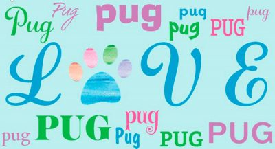 Pug Rectangular Magnet That Says Love & Pug in a Pattern