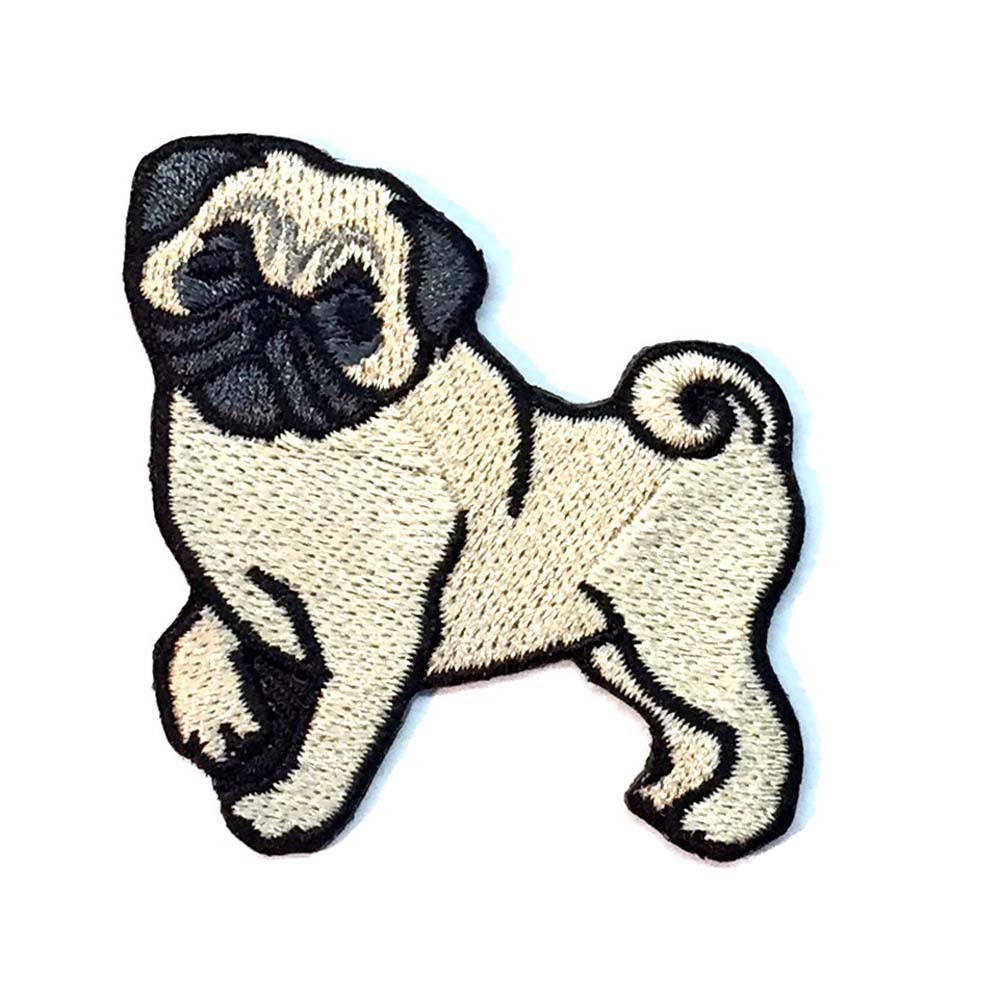 Pug Iron on Embroidered Patch Fawn