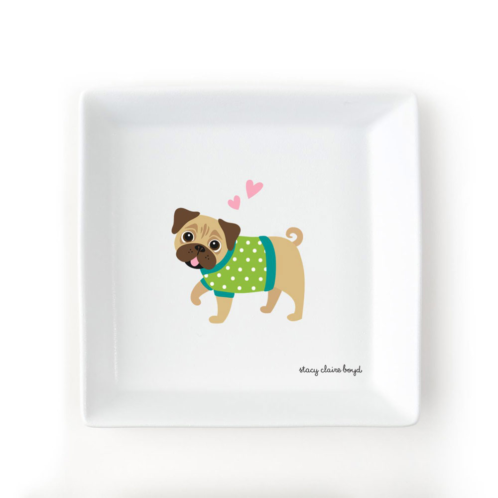 Pug Jewelry Trinket Dish
