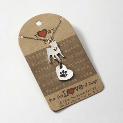 Pug Necklace & Collar Charm Set 16 Inches