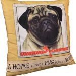 Pug Pillow 16×16 Polyester Fawn 1