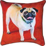 "Pug Artistic Throw Pillow 18X18"""