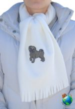 Pug Scarf Cream Fleece Black