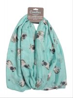 Pug Scarf -Lightweight Cotton Polyester Fawn