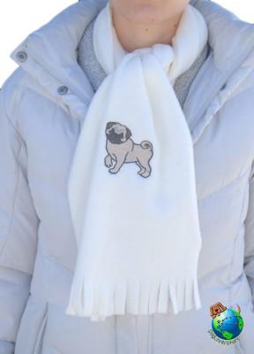 Pug Scarf Cream Fleece Fawn 1