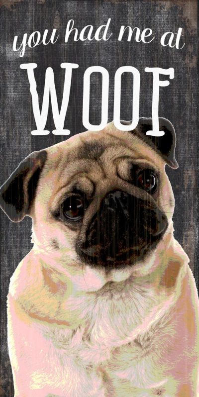 Pug Sign – You Had me at WOOF 5×10 1