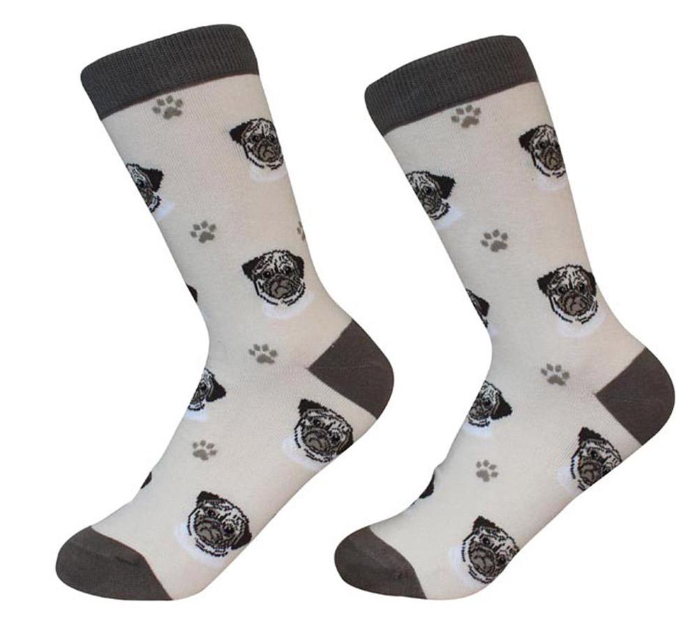 Pug Face Pattern Socks Fawn