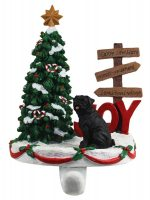 Pug Stocking Holder Hanger Black