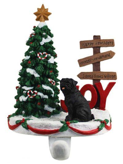 Pug Stocking Holder Hanger Black