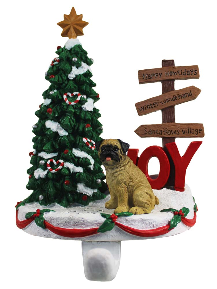 Pug Stocking Holder Hanger Fawn