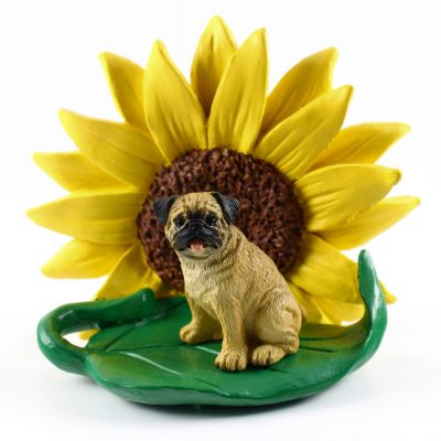 Pug Fawn Figurine Sitting on a Green Leaf in Front of a Yellow Sunflower
