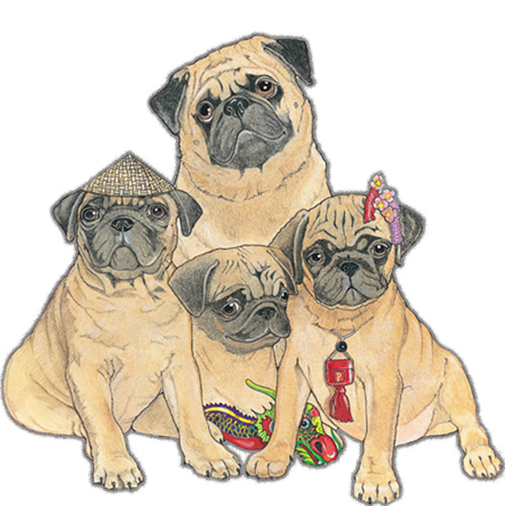 Pug Wooden Magnet Fawn Family