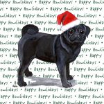Pug Dog Coasters Christmas Themed Black