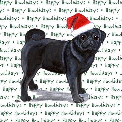 Pug Dog Coasters Christmas Themed Black 1