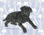 Pug Cutting Board Tempered Glass Black