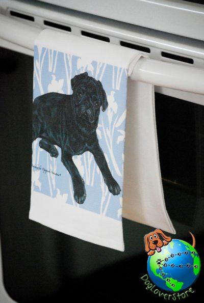 Pug Kitchen Hand Towel Black 1