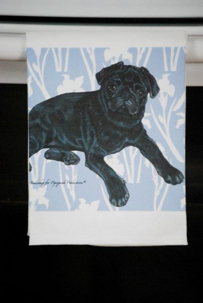 Pug Kitchen Hand Towel Black 2