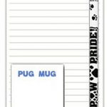 Pug Dog Notepads To Do List Pad Pencil Gift Set Black 1
