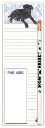 Pug Dog Notepads To Do List Pad Pencil Gift Set Black