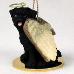 Pug Dog Figurine Guardian Angel Black