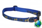 "Pug Dog Breed Adjustable Nylon Collar Medium 11-19"" Blue"