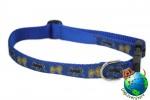 "Pug Dog Breed Adjustable Nylon Collar Medium 11-19"" Blue"