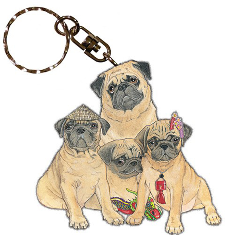 Pug Wooden Dog Breed Keychain Key Ring
