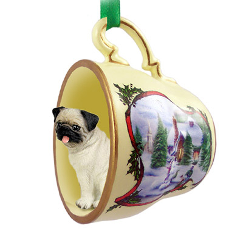 Pug Dog Christmas Holiday Teacup Ornament Figurine Fawn