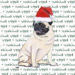Pug Dog Coasters Christmas Themed Fawn