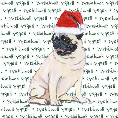 Pug Dog Coasters Christmas Themed Fawn 1