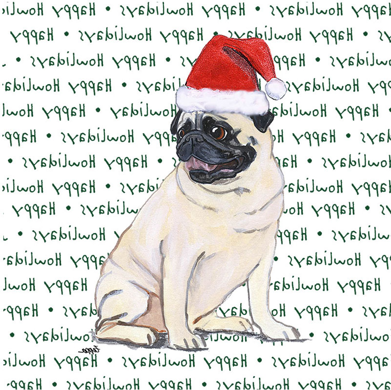 Pug Dog Coasters Christmas Themed Fawn