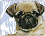 Pug Cutting Board Tempered Glass Fawn