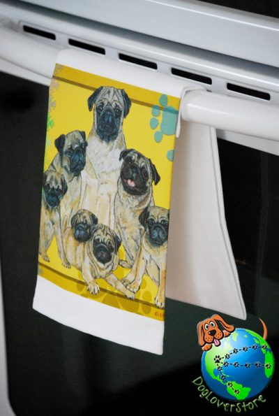 Pug Kitchen Hand Towel Fawn 1