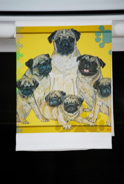 Pug Kitchen Hand Towel Fawn 2