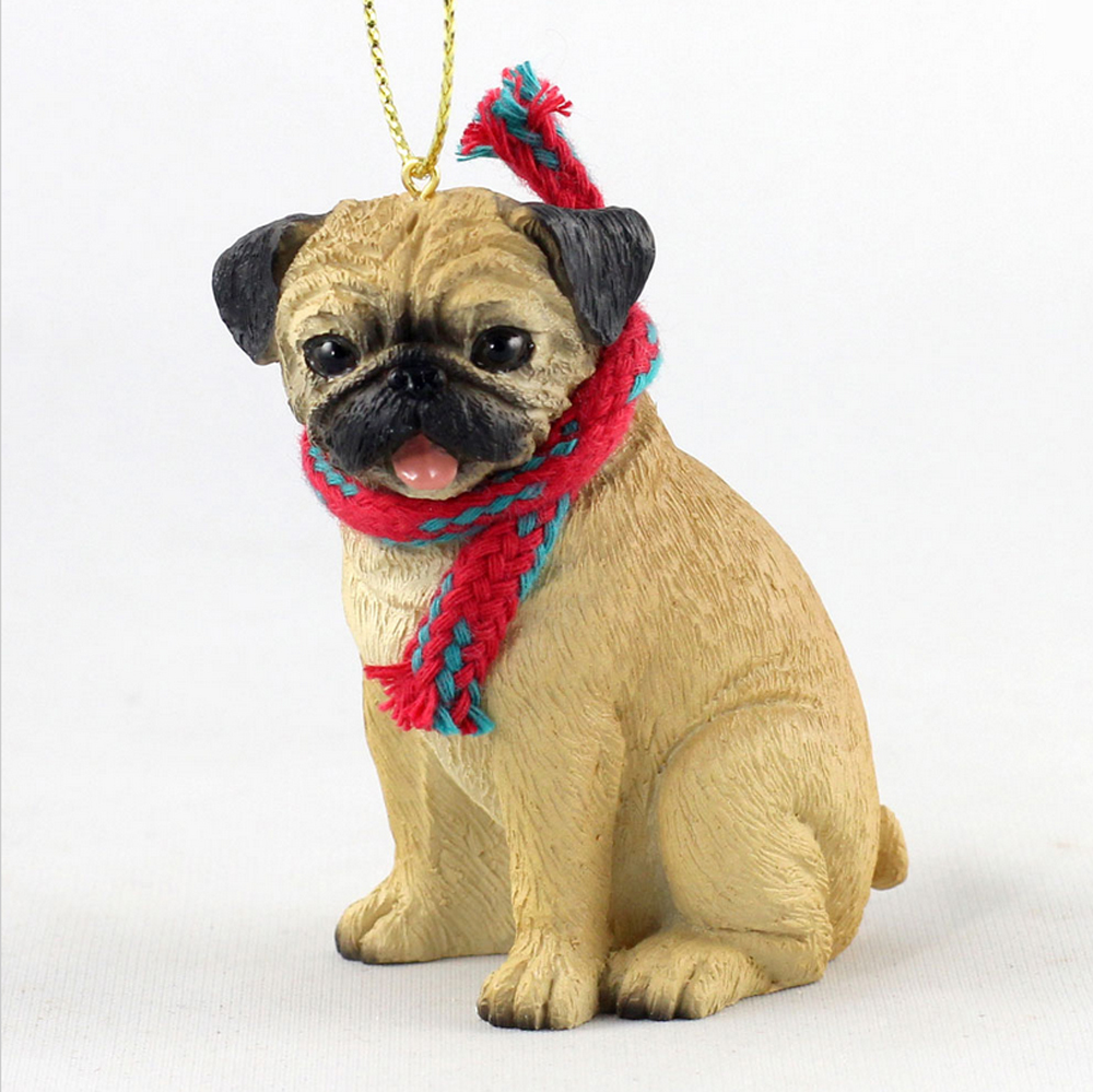 Pug Dog Christmas Ornament Scarf Figurine Fawn