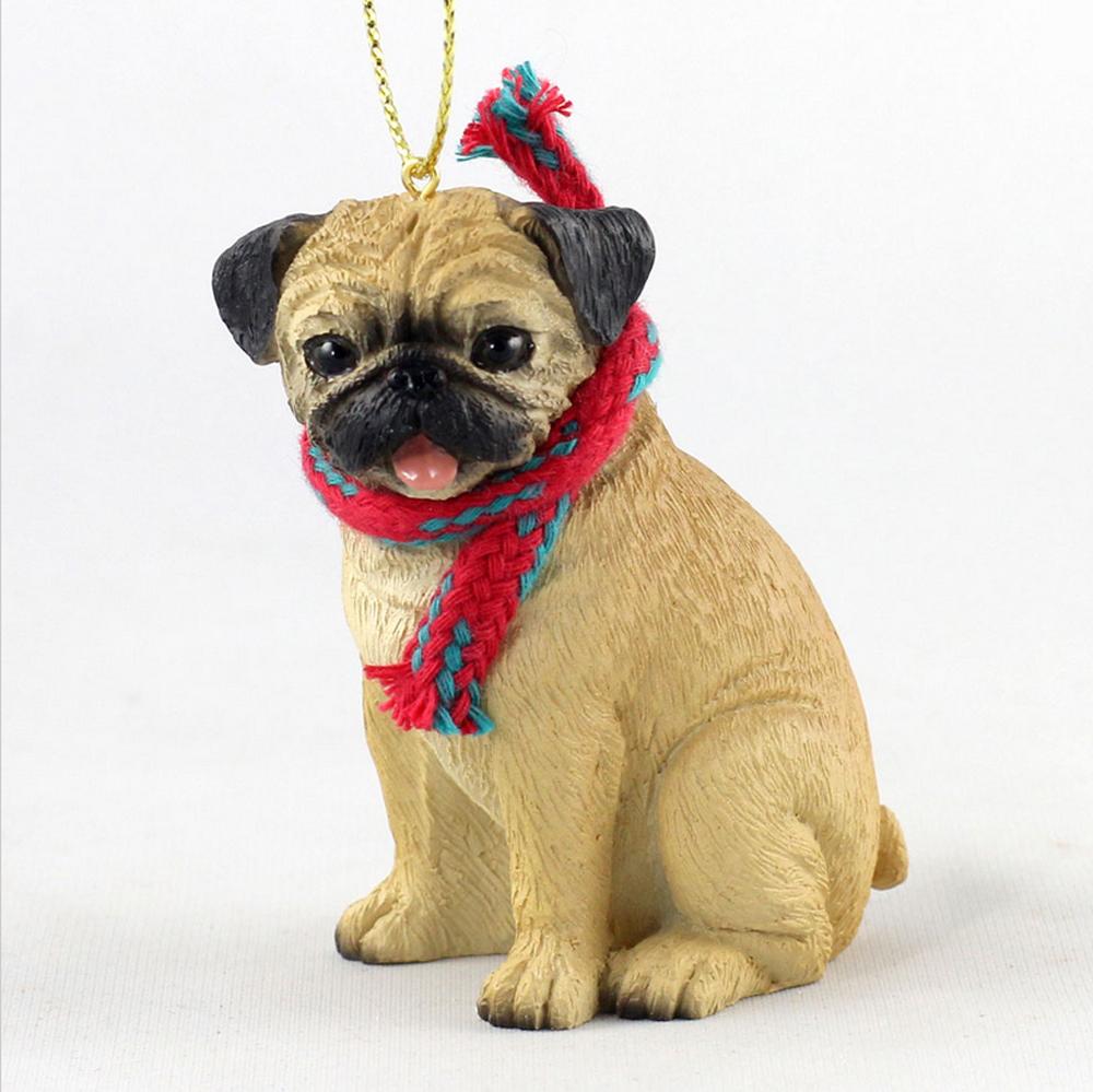 Dog christmas ornaments - Pug Dog Christmas Ornament Scarf Figurine Fawn