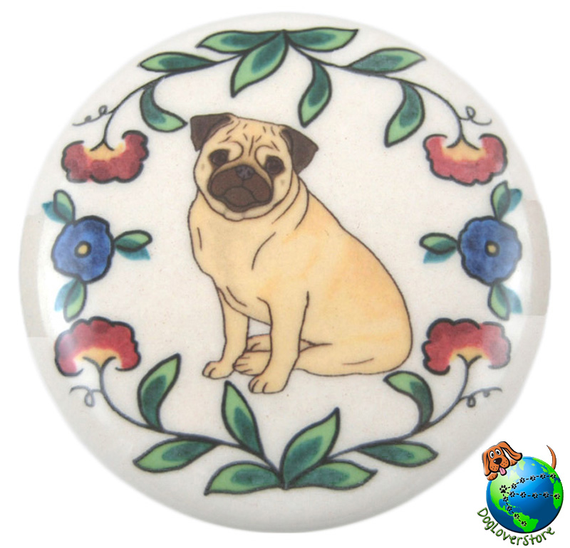 Pug Dog Wine Bottle Stopper Hand Painted Fawn