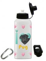 Pug Water Bottle Stainless Steel 20 oz Black