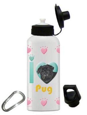 Pug Water Bottle Stainless Steel 20 oz Black
