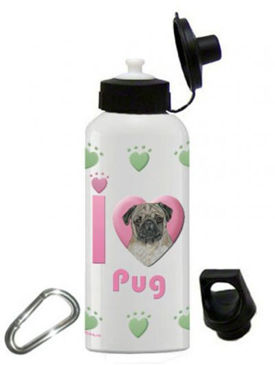 Pug Water Bottle Stainless Steel 20 oz Fawn 1