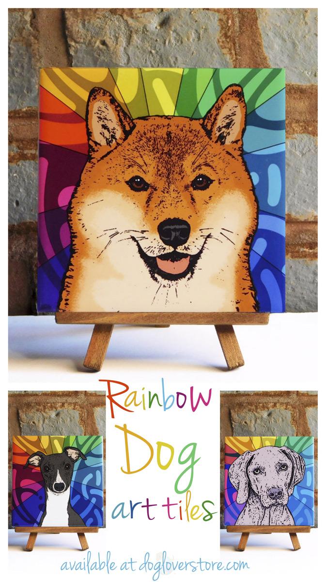 Rainbow Dog Art Tiles