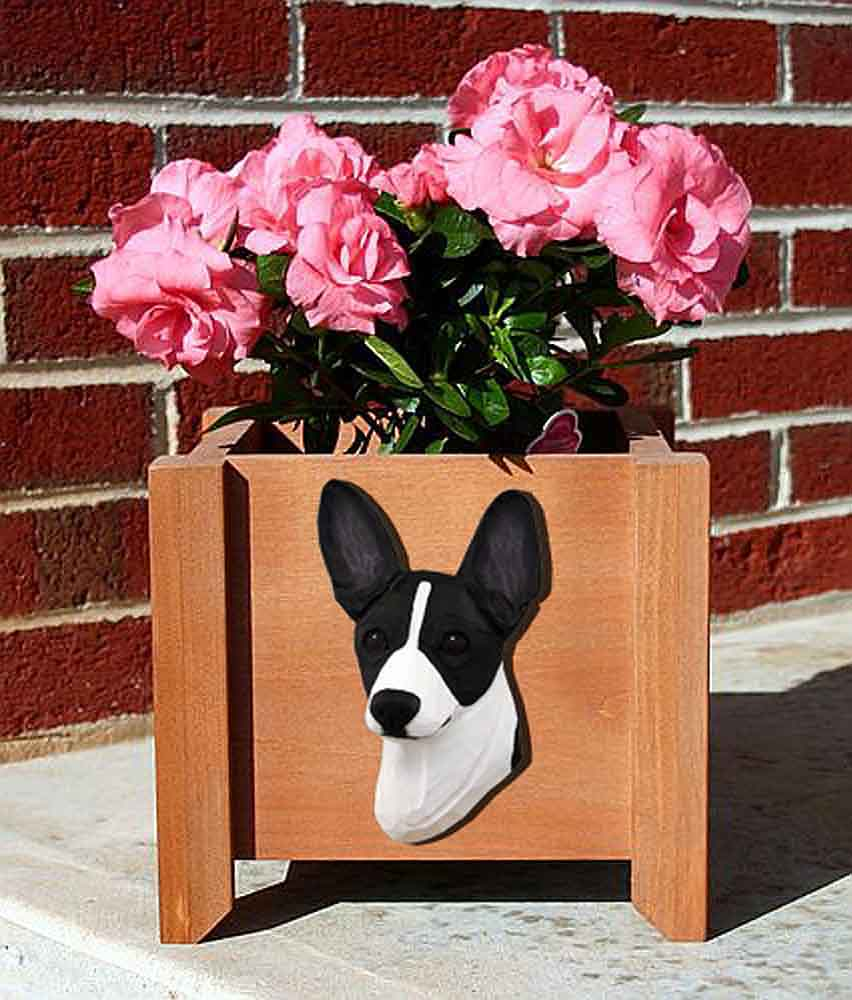 Rat Terrier Planter Flower Pot Black White