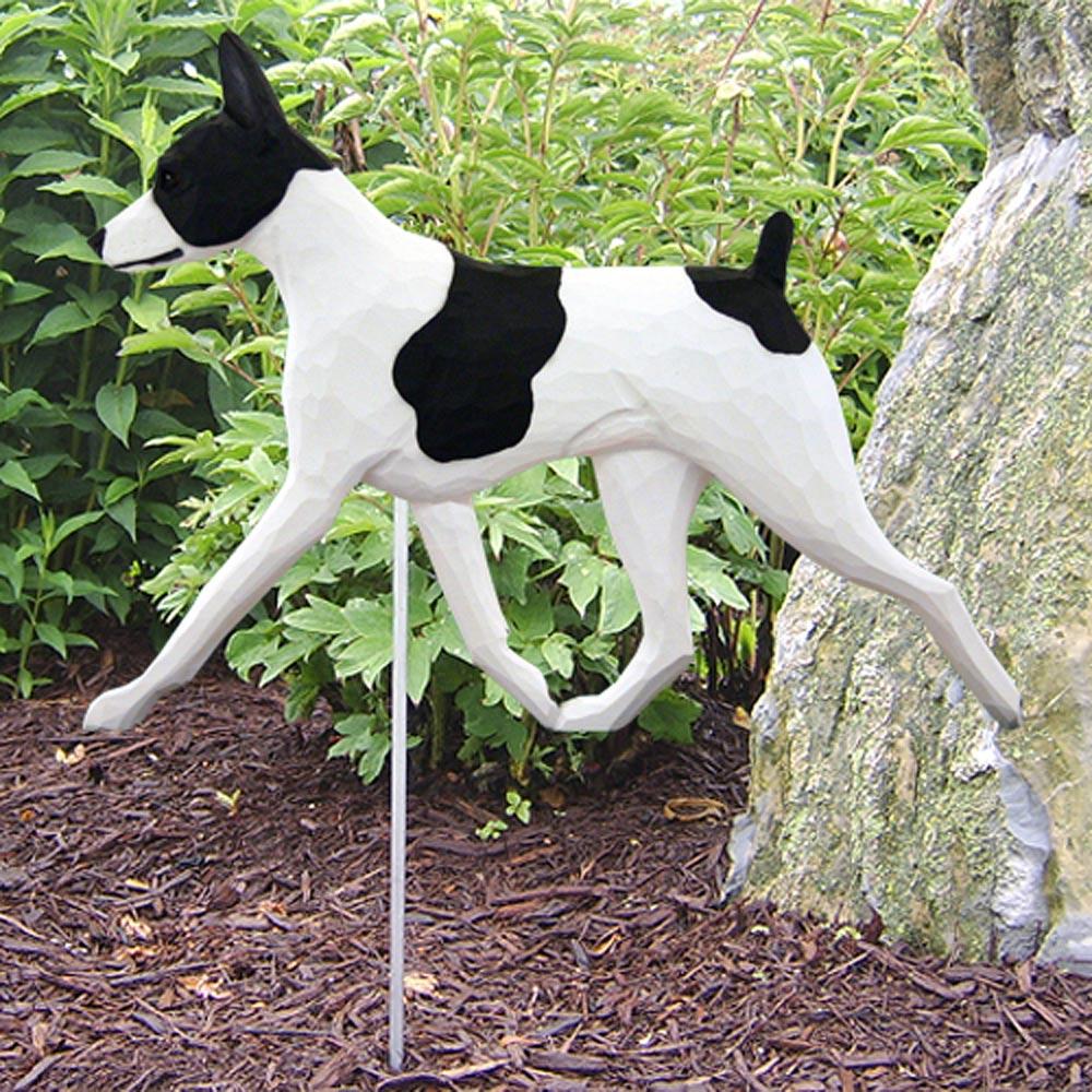 Rat Terrier Outdoor Garden Sign Hand Painted Figure Black