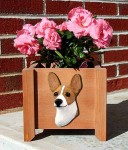 Rat Terrier Planter Flower Pot Red White