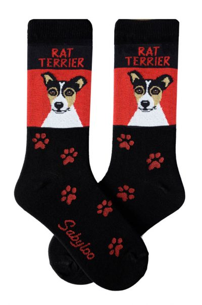 Rat Terrier Socks - Red and Black in Color
